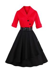 V-Neckline Button Detail Belted Dress