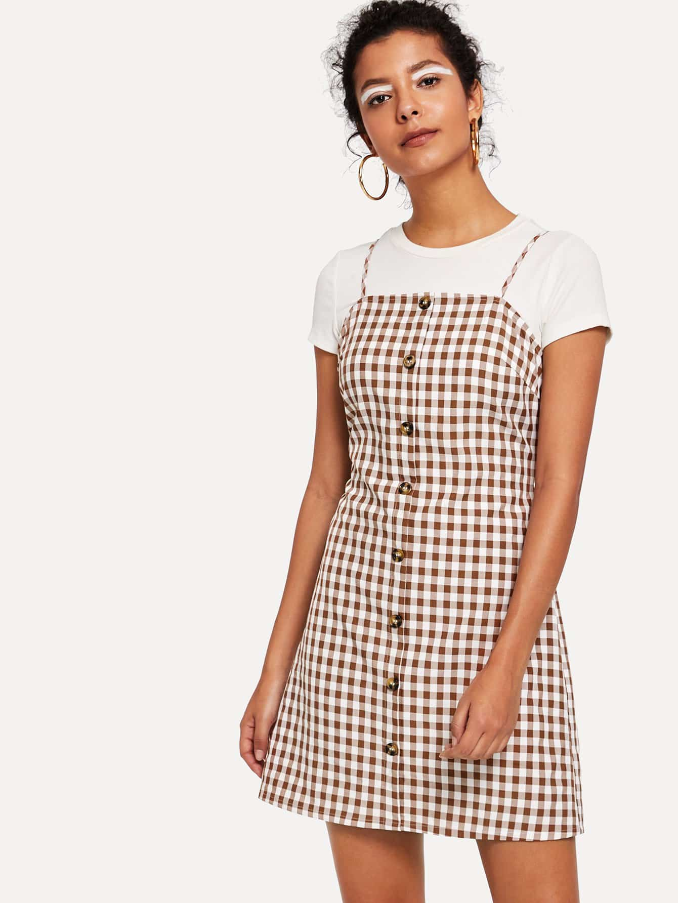 Knot Cutout Back Buttoned Gingham Cami Dress knot front cutout midriff halterneck gingham dress