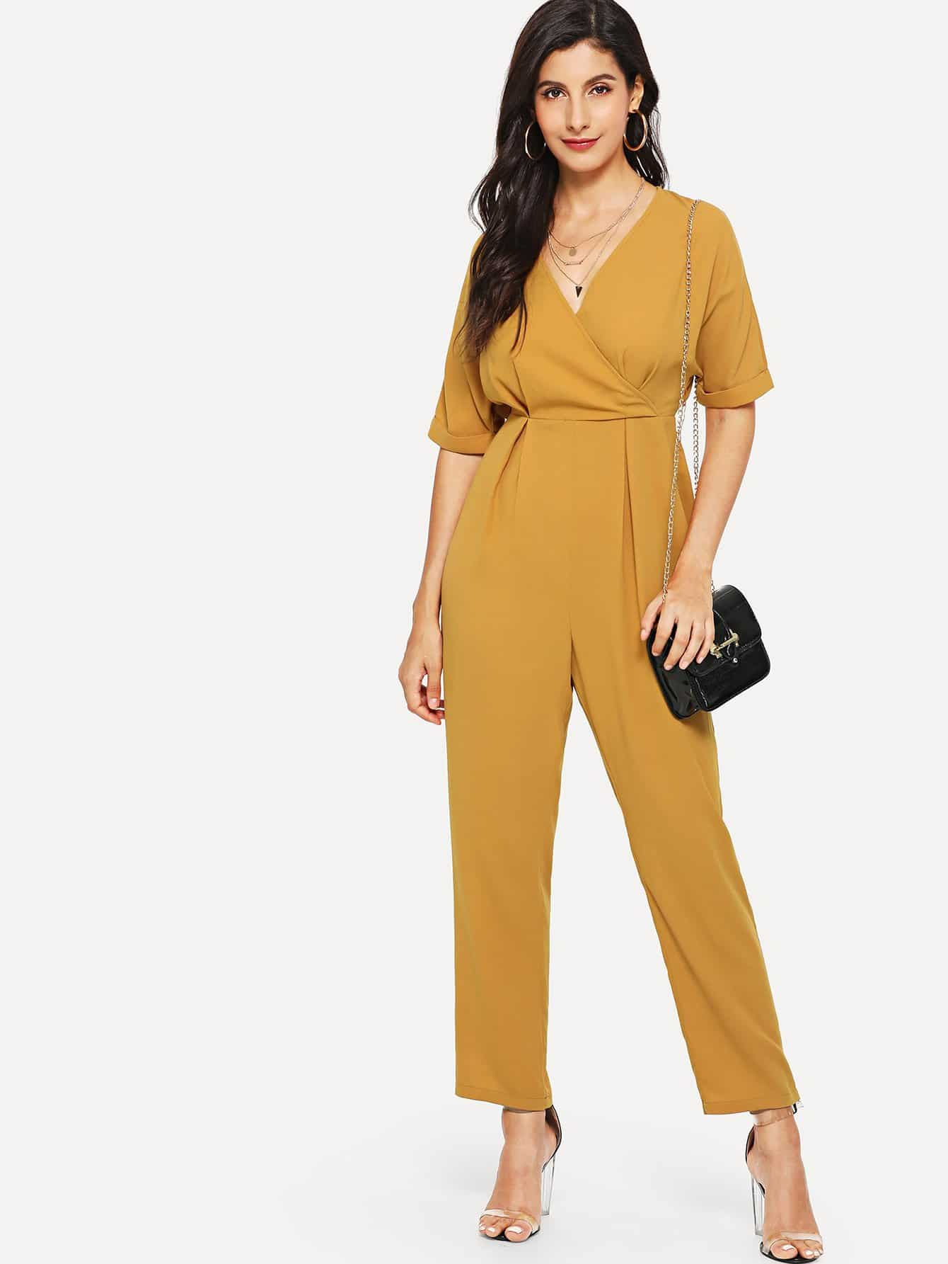 Wrap Front Fold Pleat Jumpsuit how to be a сonservative