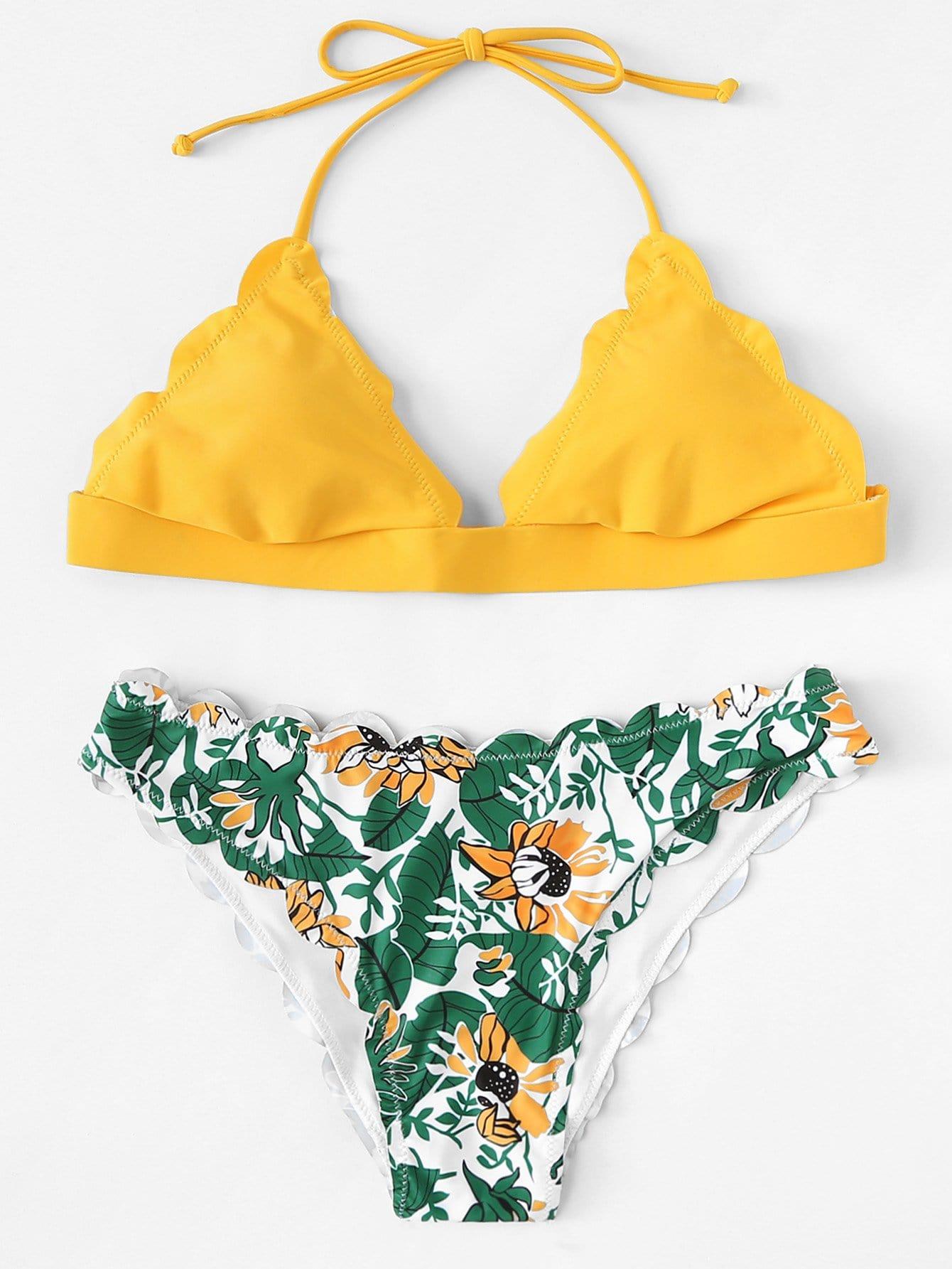 Купить Scalloped Edge Mix и Match Bikini Set, null, SheIn