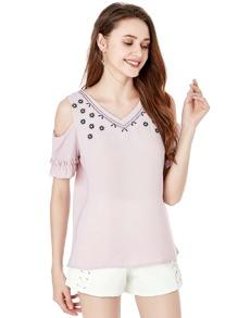 Flower Embroidered Cold Shoulder Blouse