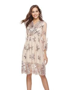 Sequin Wrap Contrast Mesh Dress