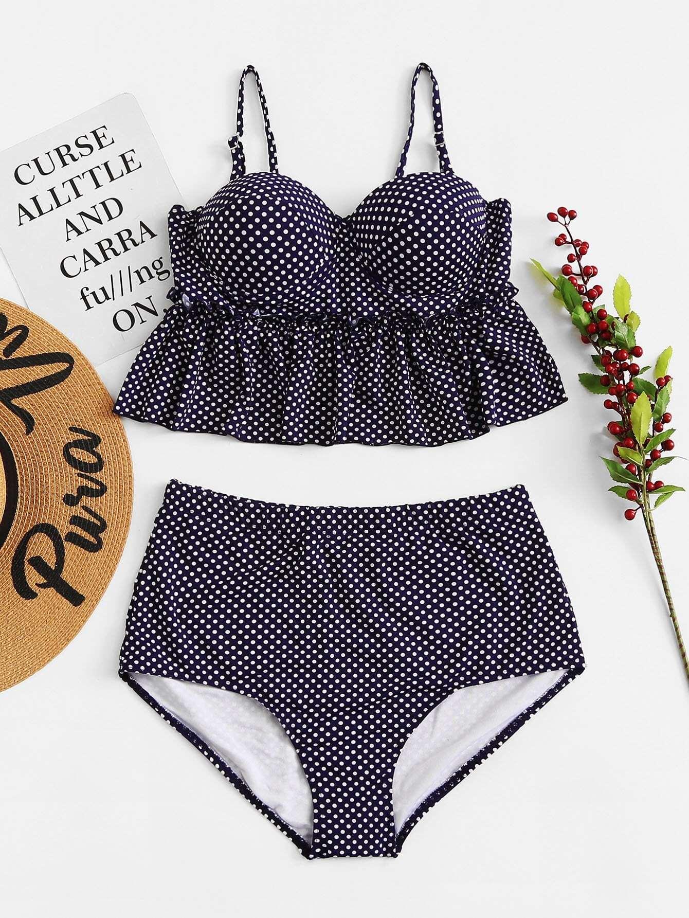 Plus Polka Dot Ruffle Bikini Set