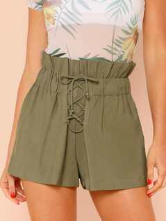 Paper Bag Waist Lace Up Shorts