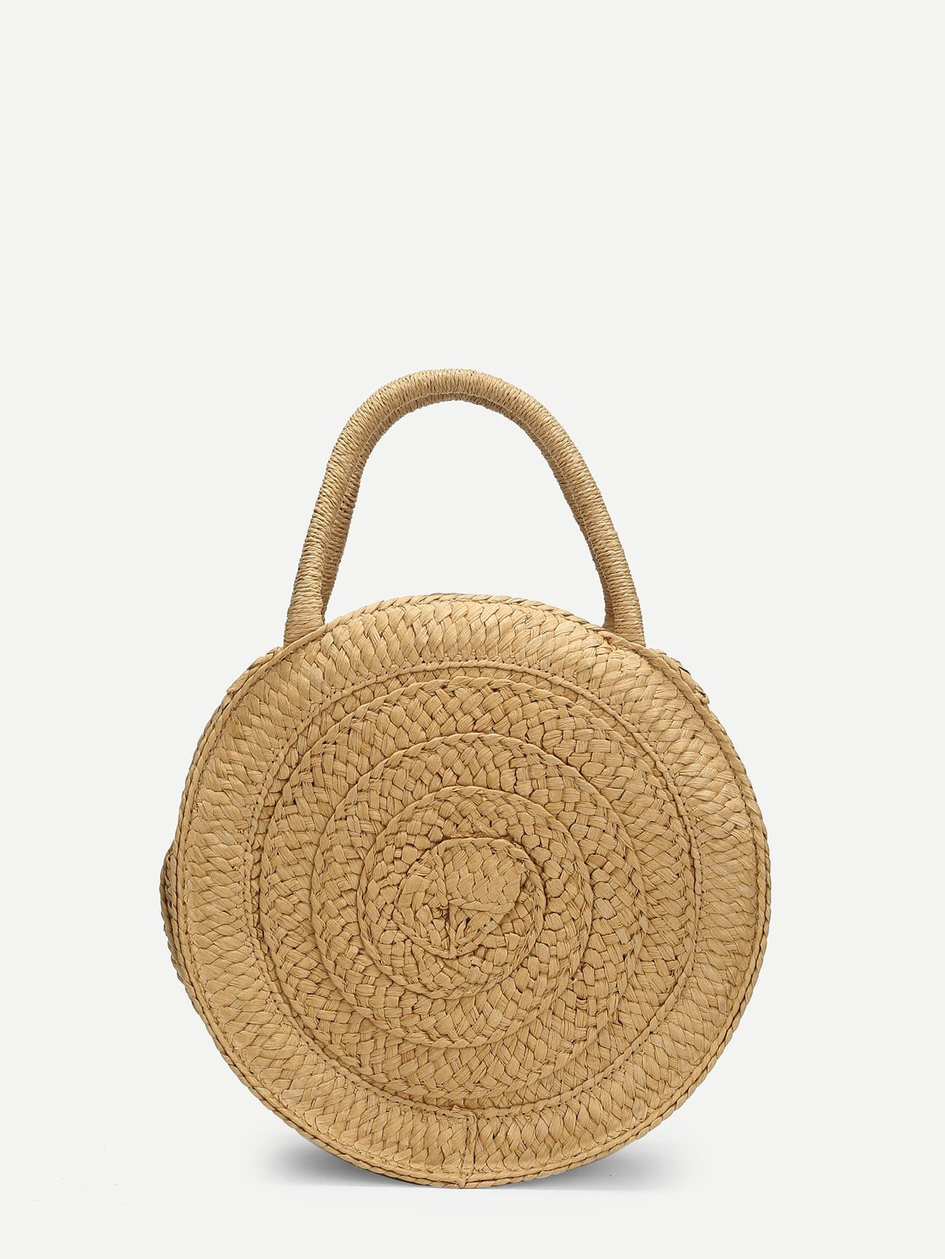 Round Shaped Straw Tote Bag
