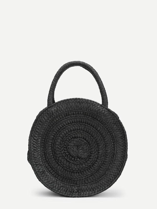 Round Straw Handbag by Sheinside