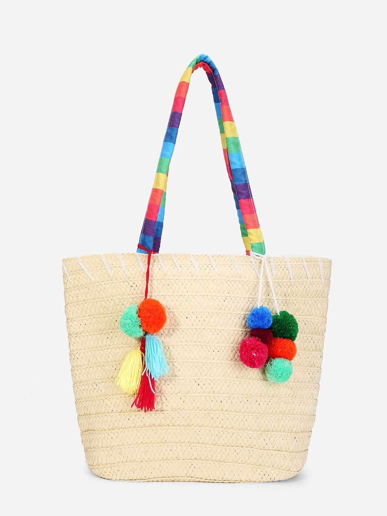 Tassel & Pom Pom Detail Straw Bag beige tassel detail straw shoulder bags