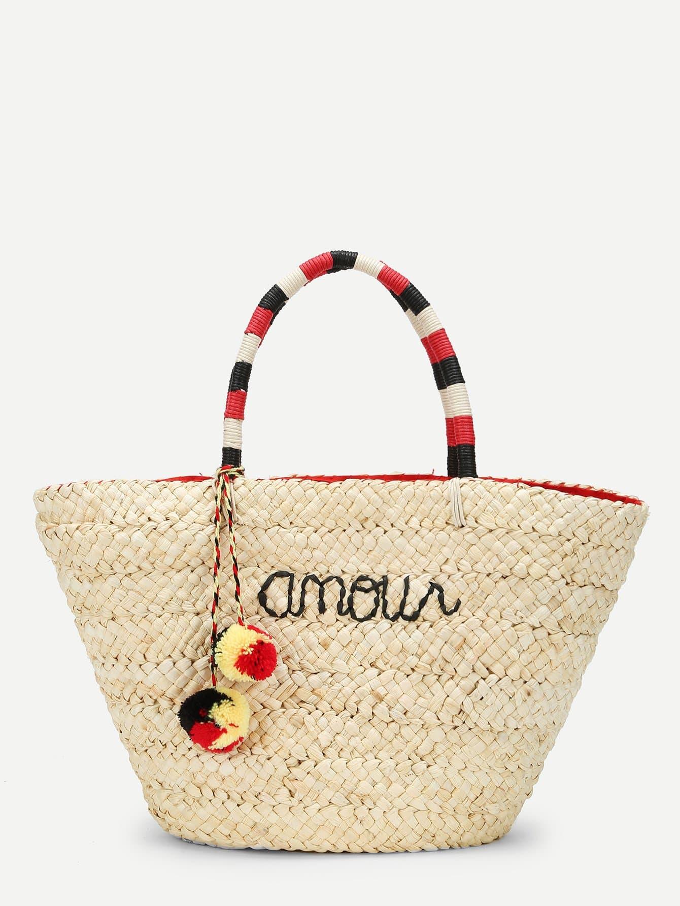 Straw Tote Bag With Double Pom Pom straw clutch bag with pom pom