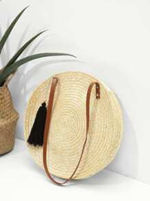 Round Shaped Straw Bag With Tassel