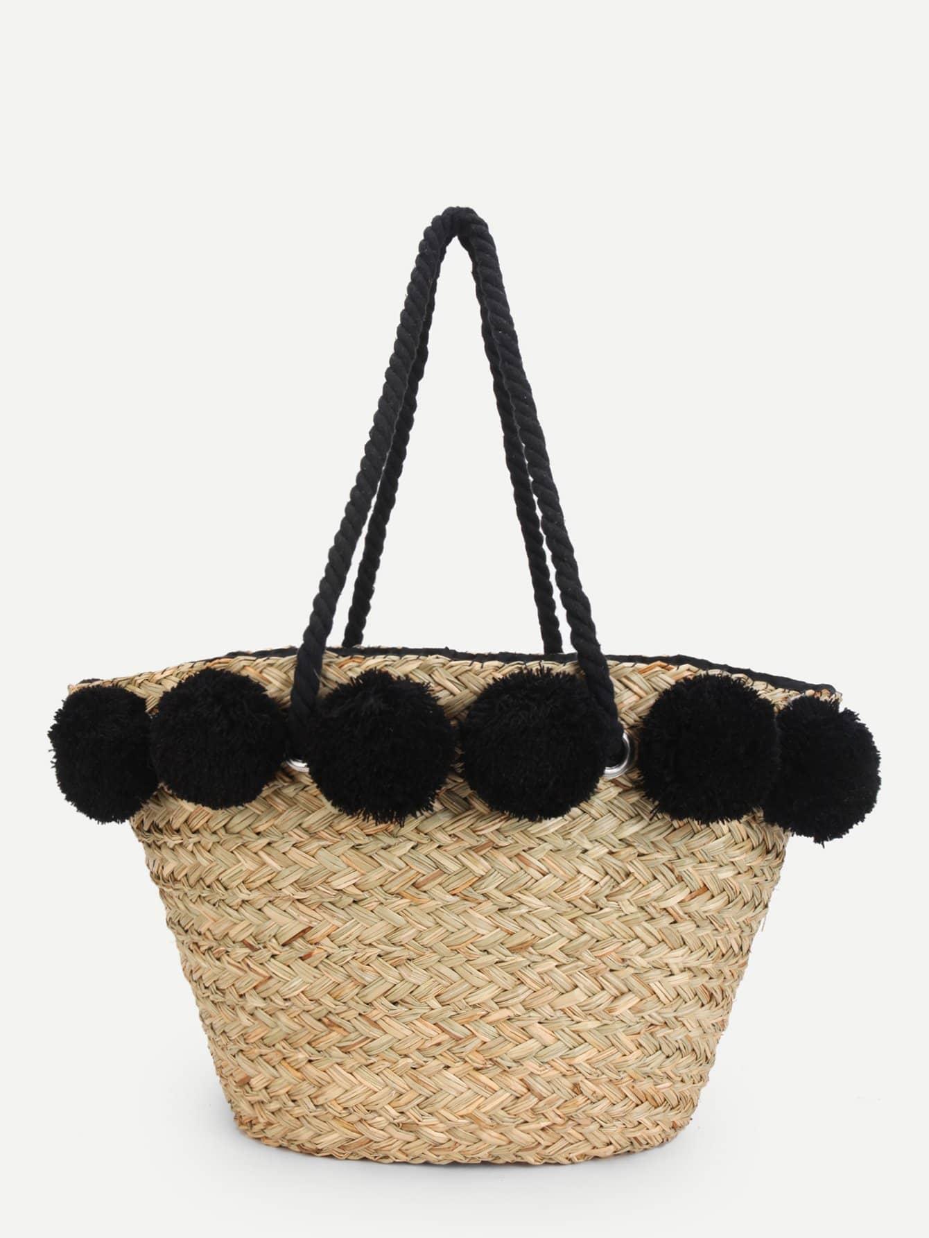 Straw Tote Bag With Pom Pom straw clutch bag with pom pom