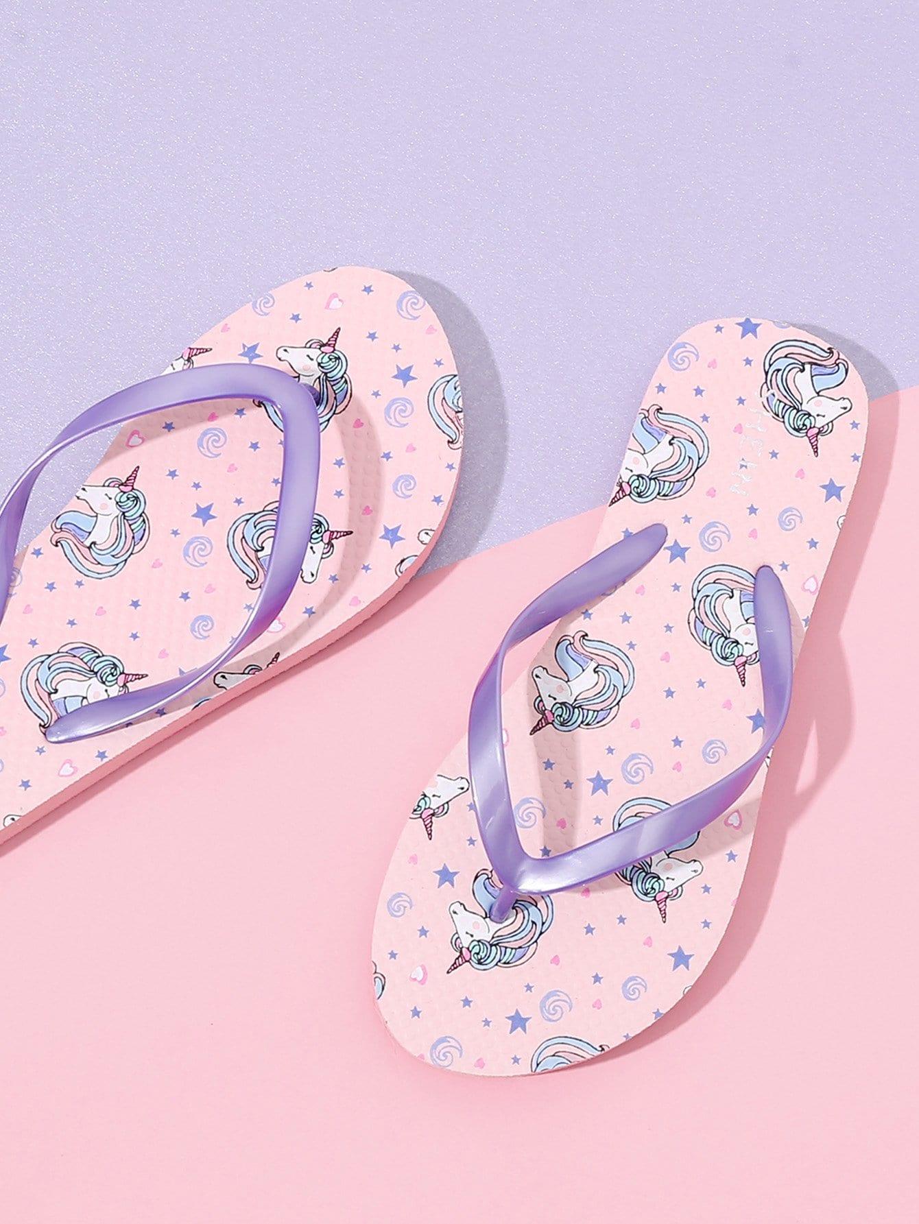 Unicorn Pattern Toe Post Slippers