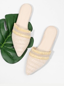 Pointed Toe Straw Flats