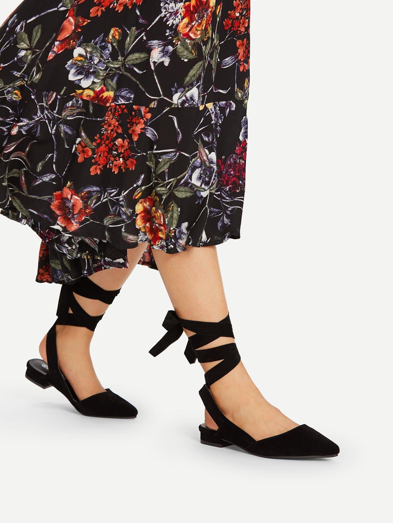 Pointed Toe Tie Leg Flats pointed toe tie leg flats