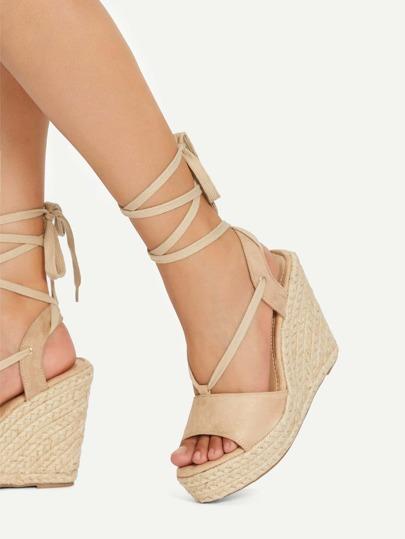 Romwe / Peep Toe Lace Up Wedge Sandals