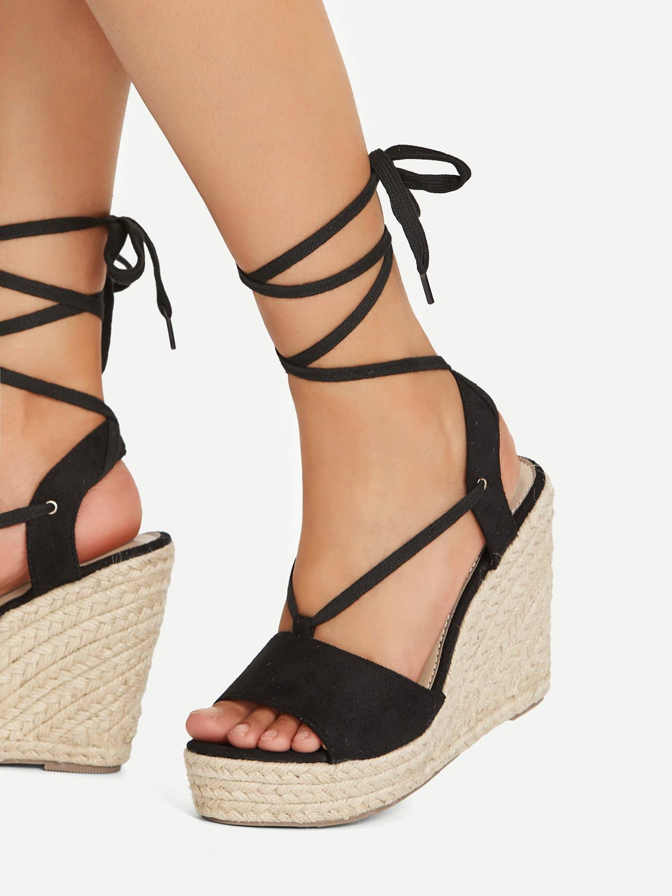 Peep Toe Lace Up Wedge Sandals ladies sandals 2018 new women sandals casual flat shoes fashion peep toe summer beach sandals string bead bohemian wedge sandals