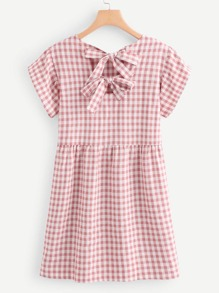Bow Tie Back Gingham Dress