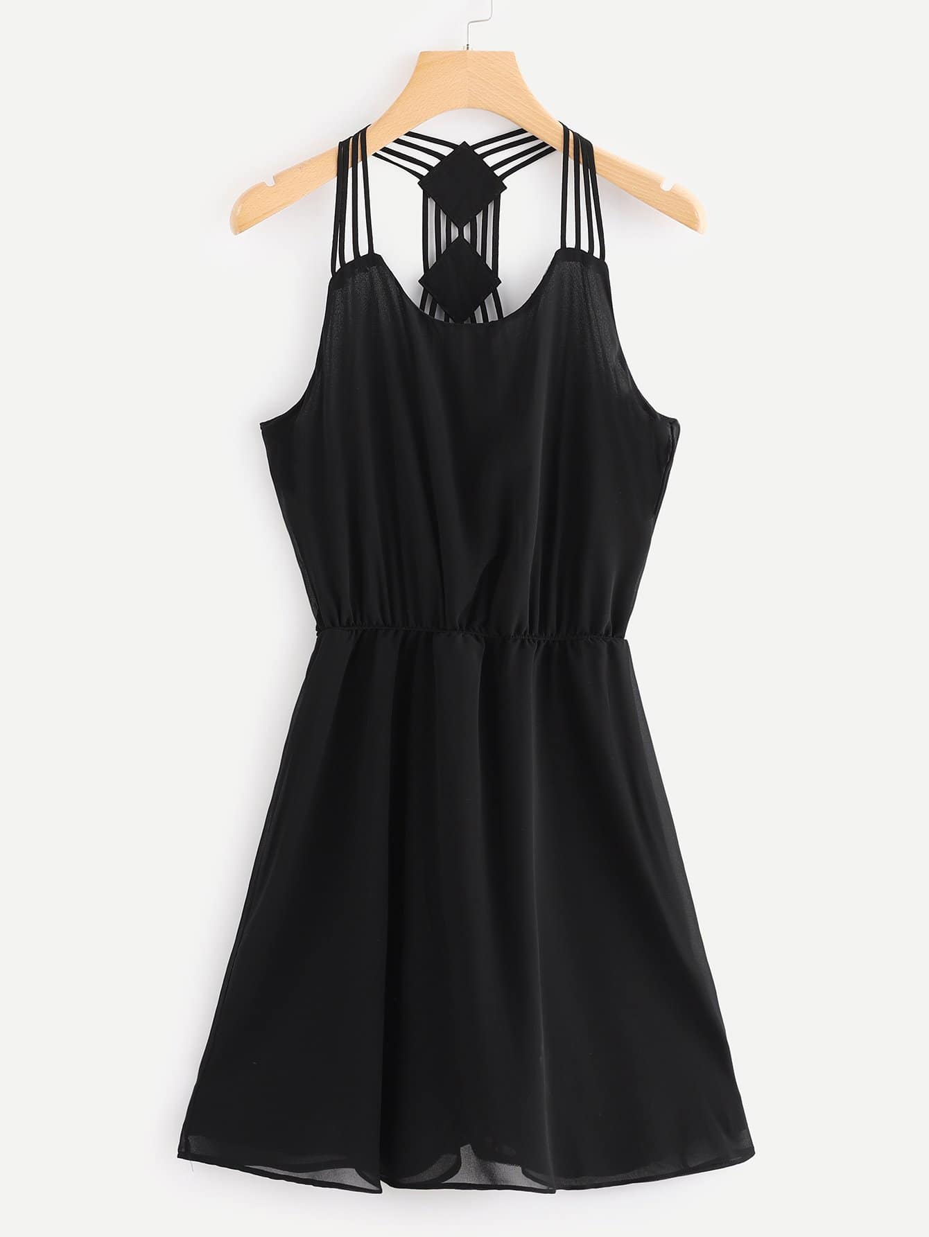 Strappy Detail Skater Dress strappy dress with lace up detail