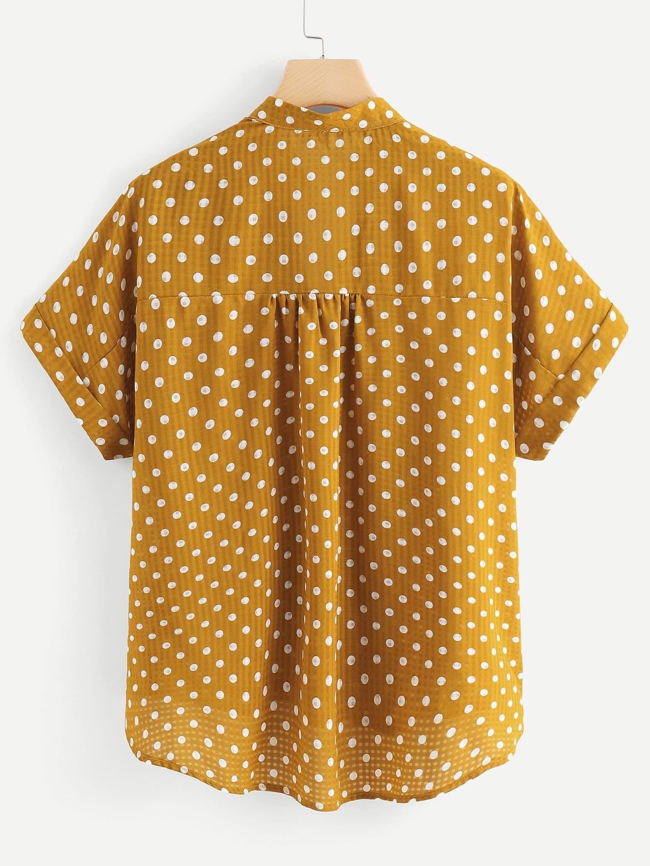 SHEIN / Blusa de lunares de manga corta