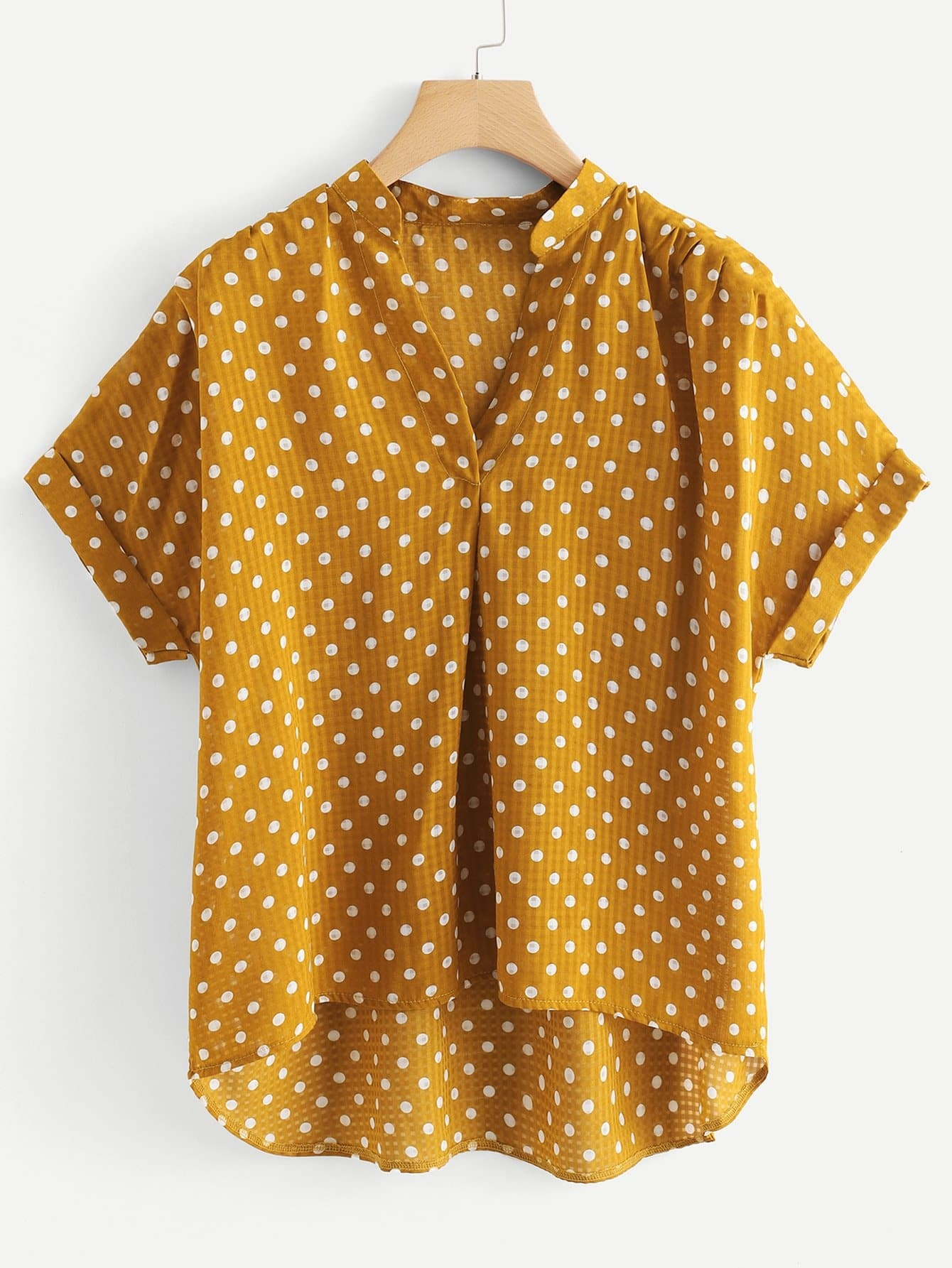Plus Polka Dot Dip Hem Cuffed Blouse