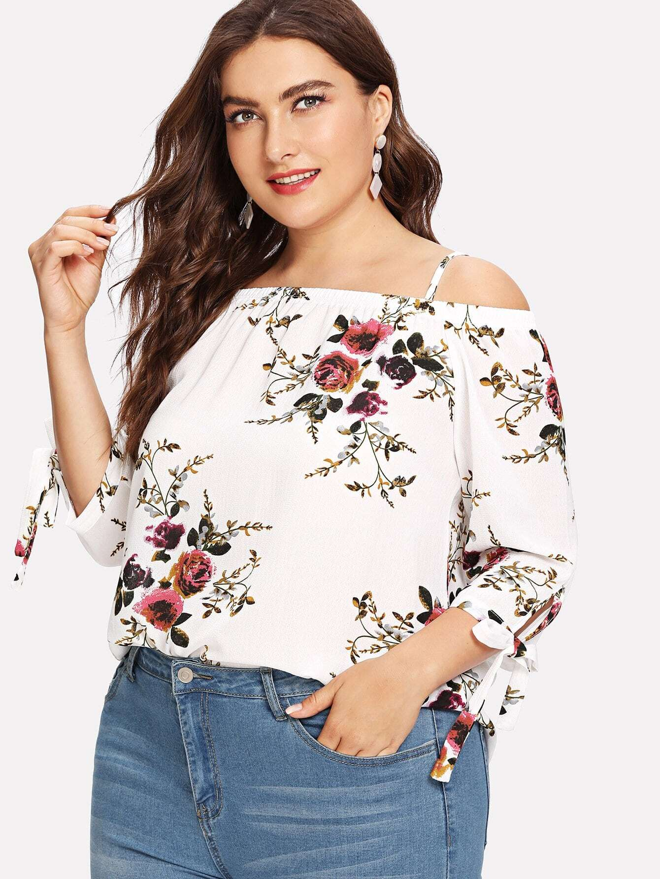 Cold Shoulder Floral Print Blouse one shoulder floral print blouse