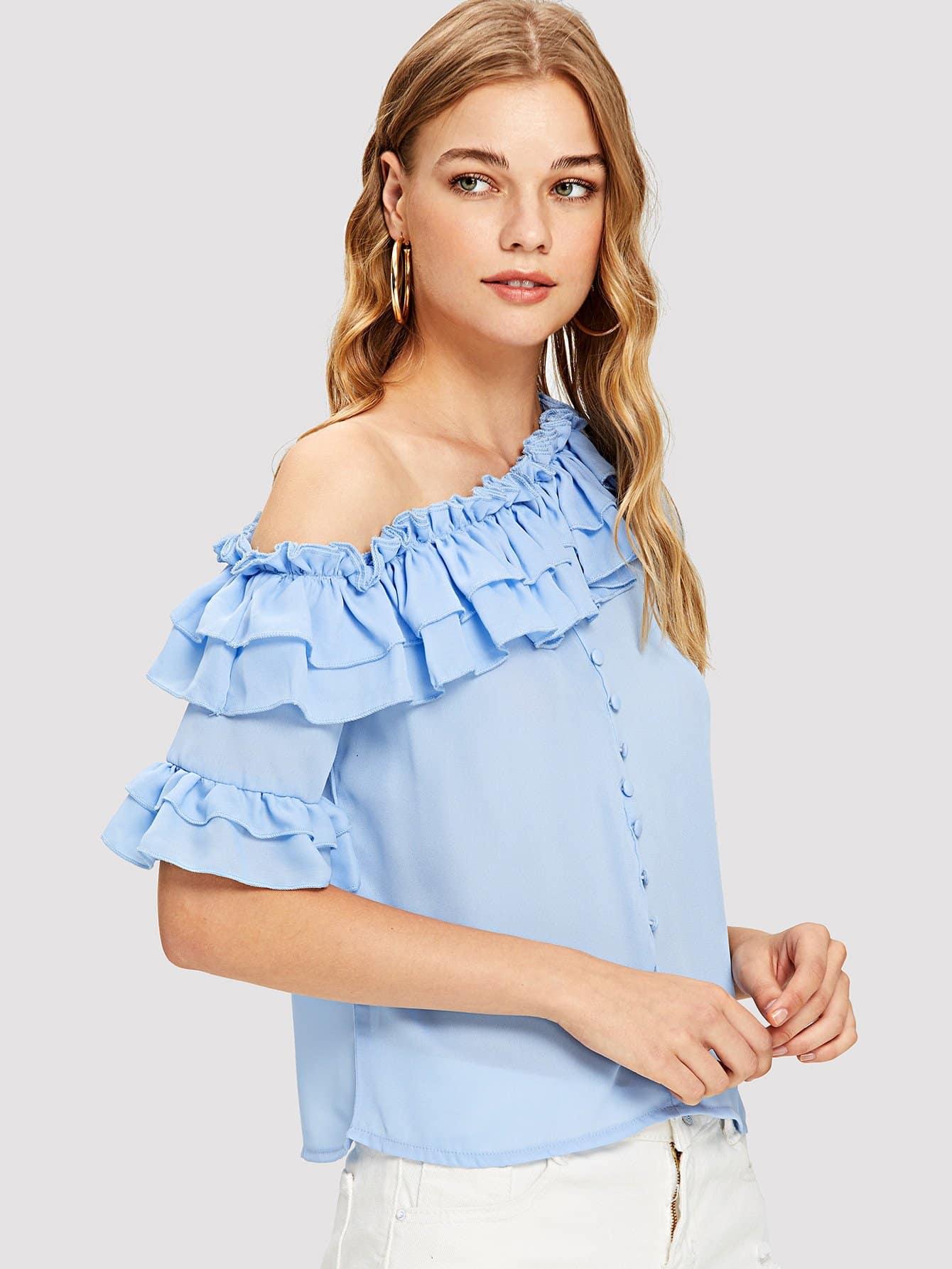 Купить Ароматическая плечевая блузка, Teresa, SheIn