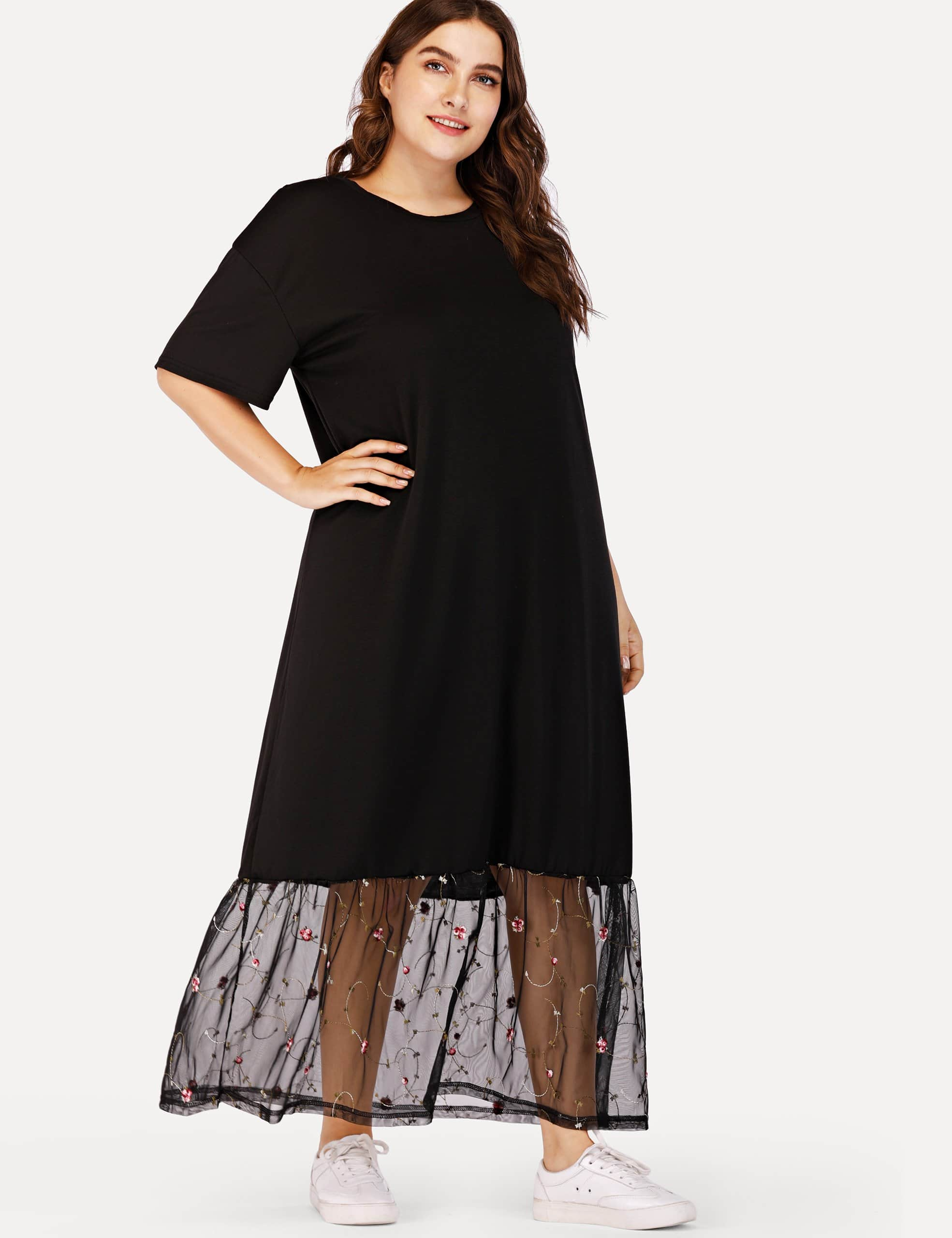 Plus Drop Shoulder Lace Hem Dress