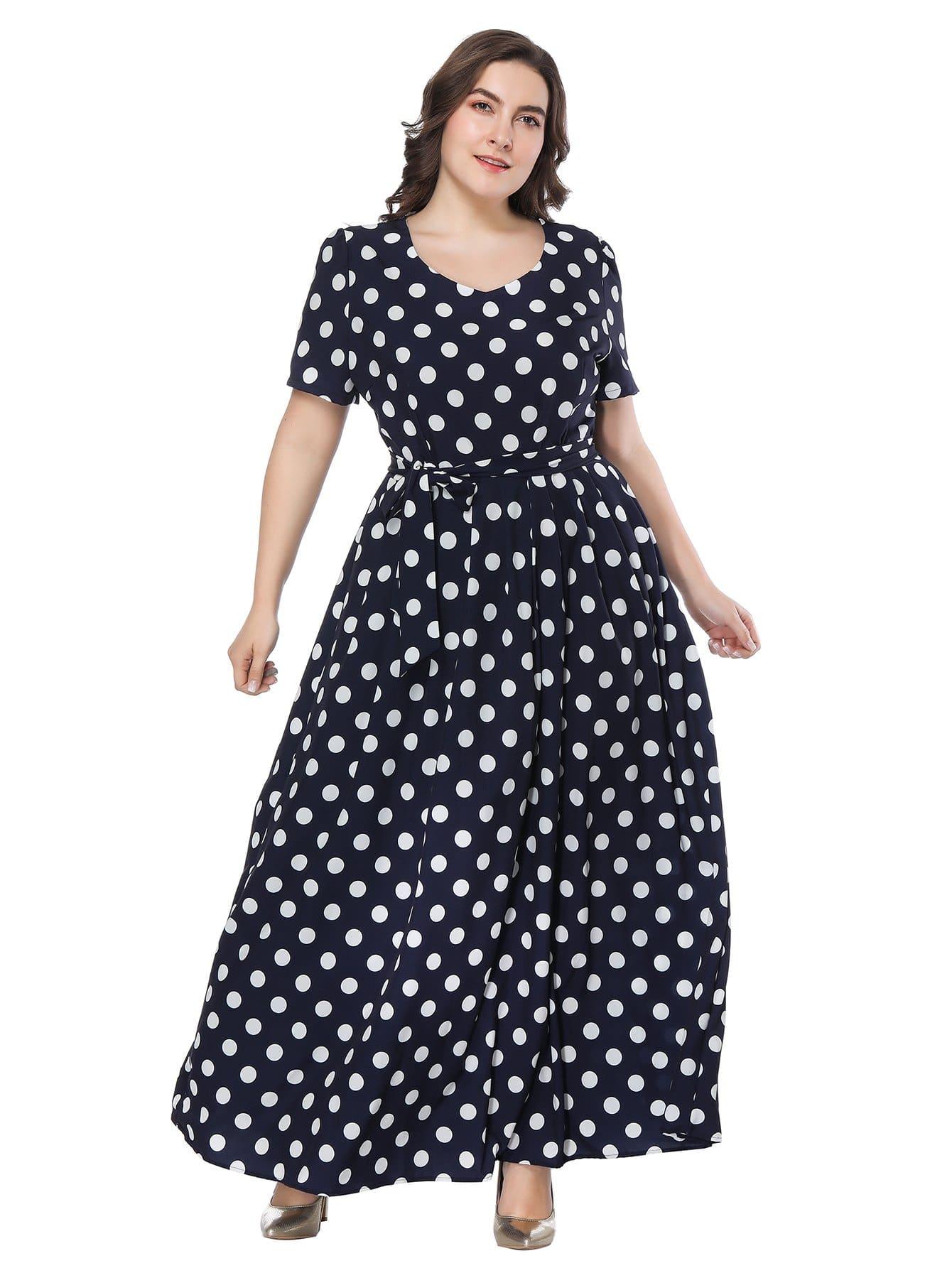 Plus Polka Dot Self Tie Waist Dress