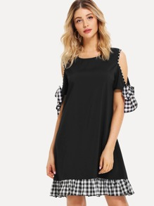 Cut Out Shoulder Checked Panel Dress
