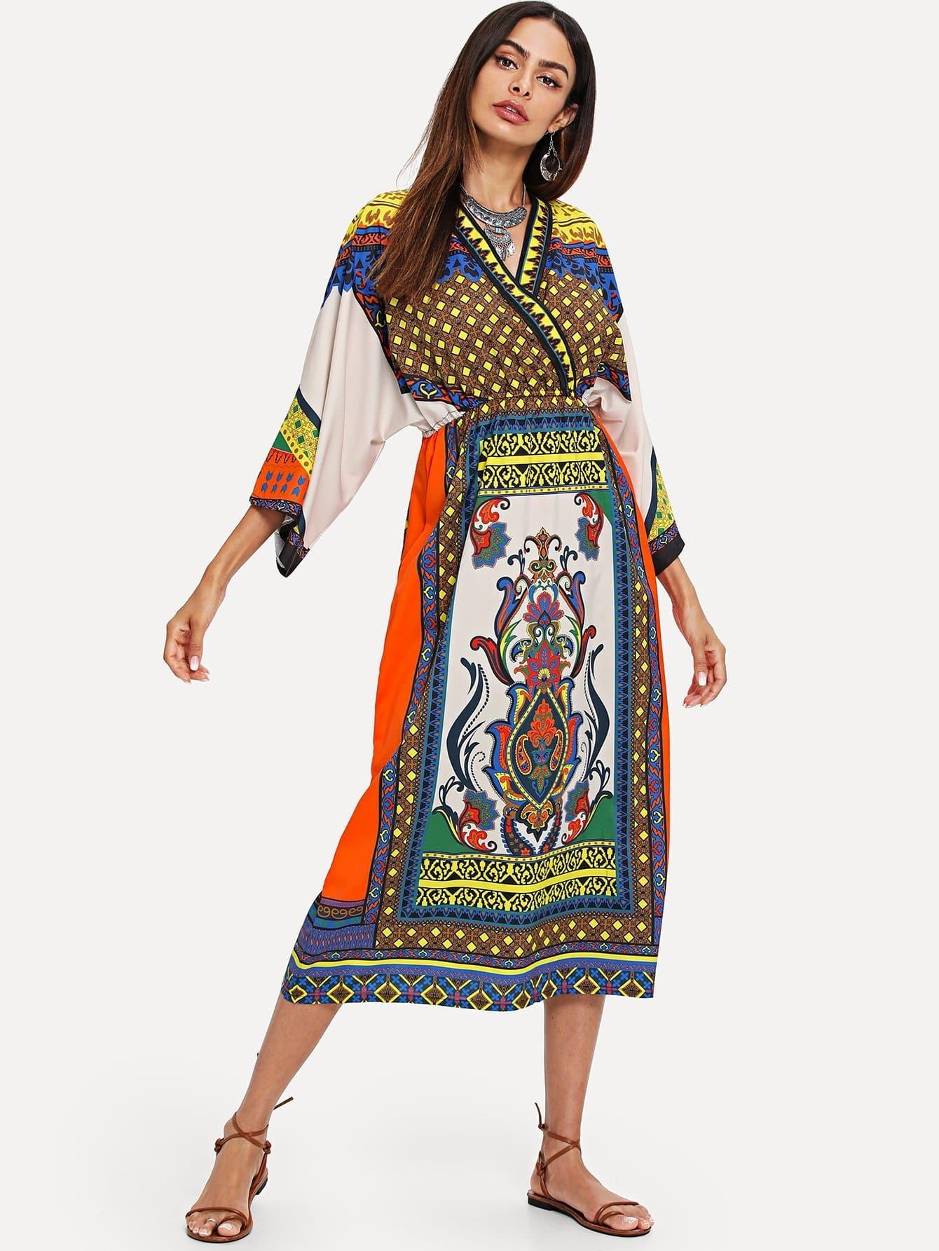 Купить Платье с коротким рукавом Geo Print, Andy, SheIn