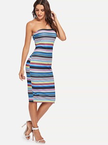 Striped Ribbed Tube Dress