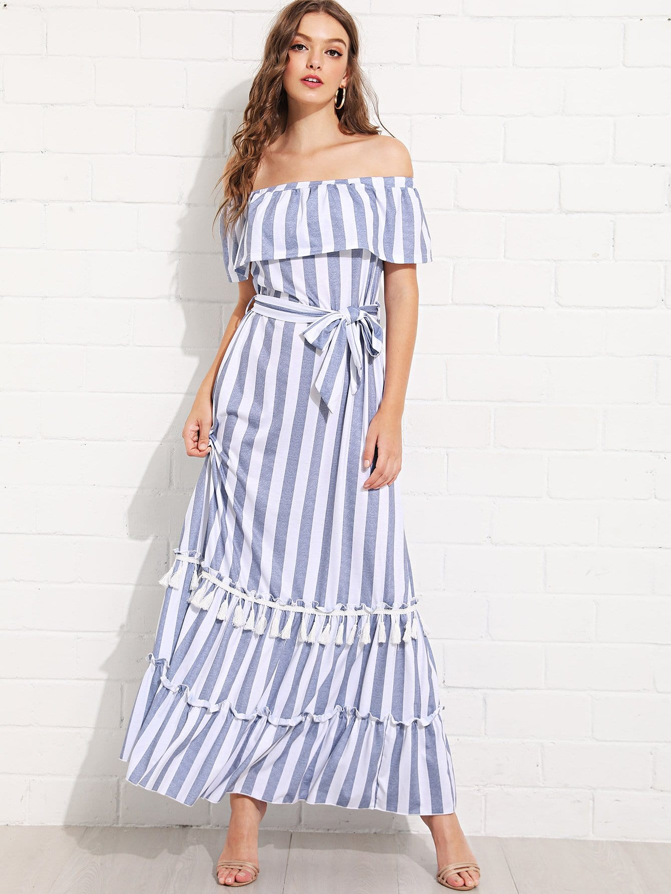 Off Shoulder Fringe Trim Striped Dress off shoulder tassel trim beach dress