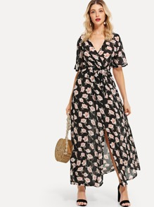 Floral Print Split Hem Dress