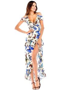 Deep V Neckline Split Dress