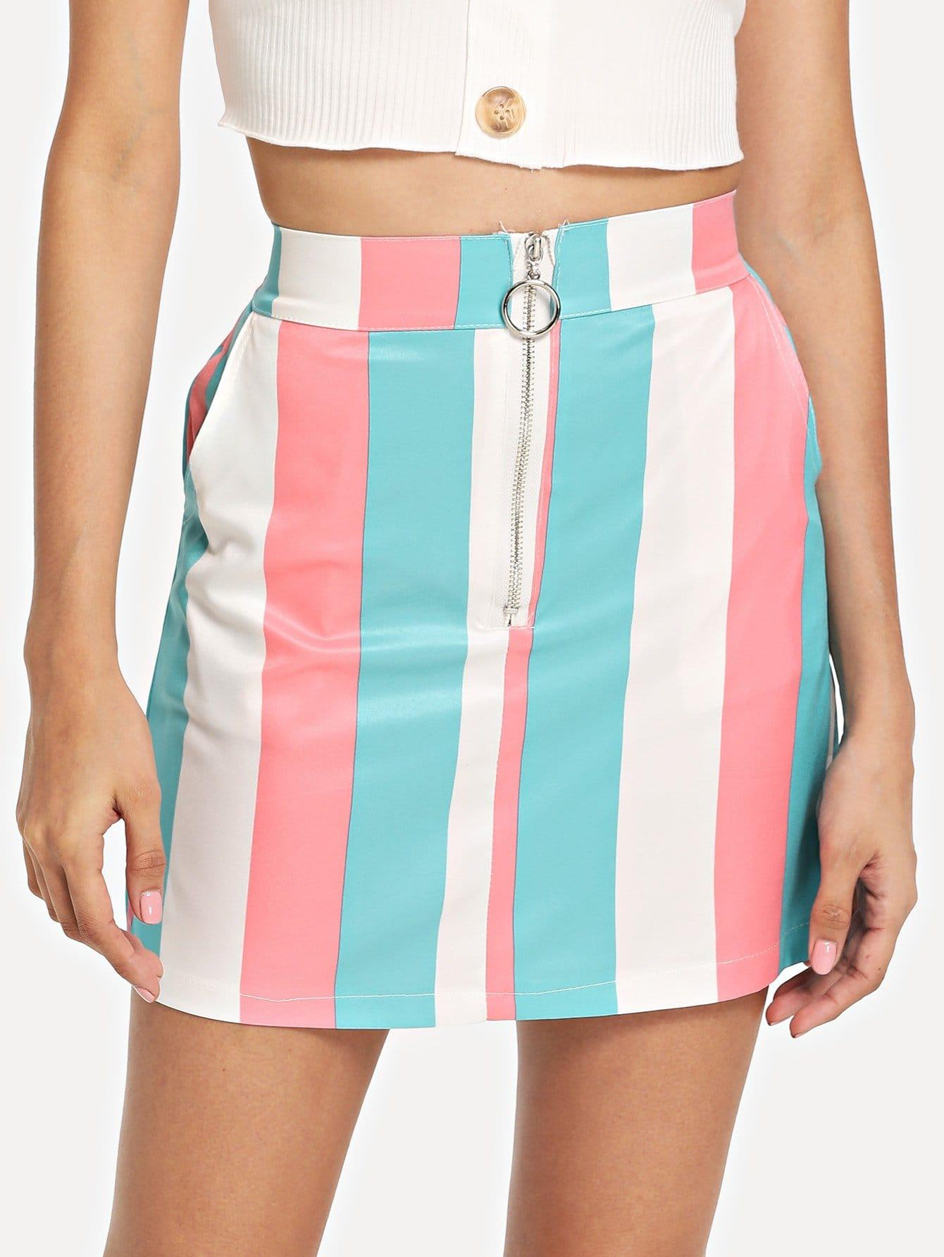 Полосатая мини-юбка