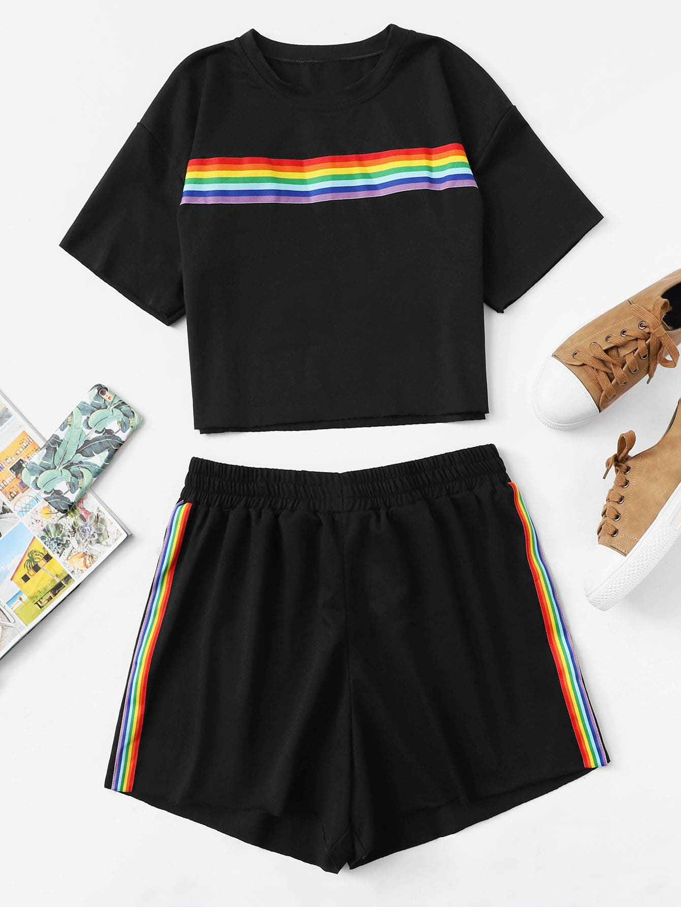 Plus Drop Shoulder Striped Tape Tee With Shorts