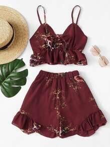 Ruffle Hem Floral Print Cami With Shorts