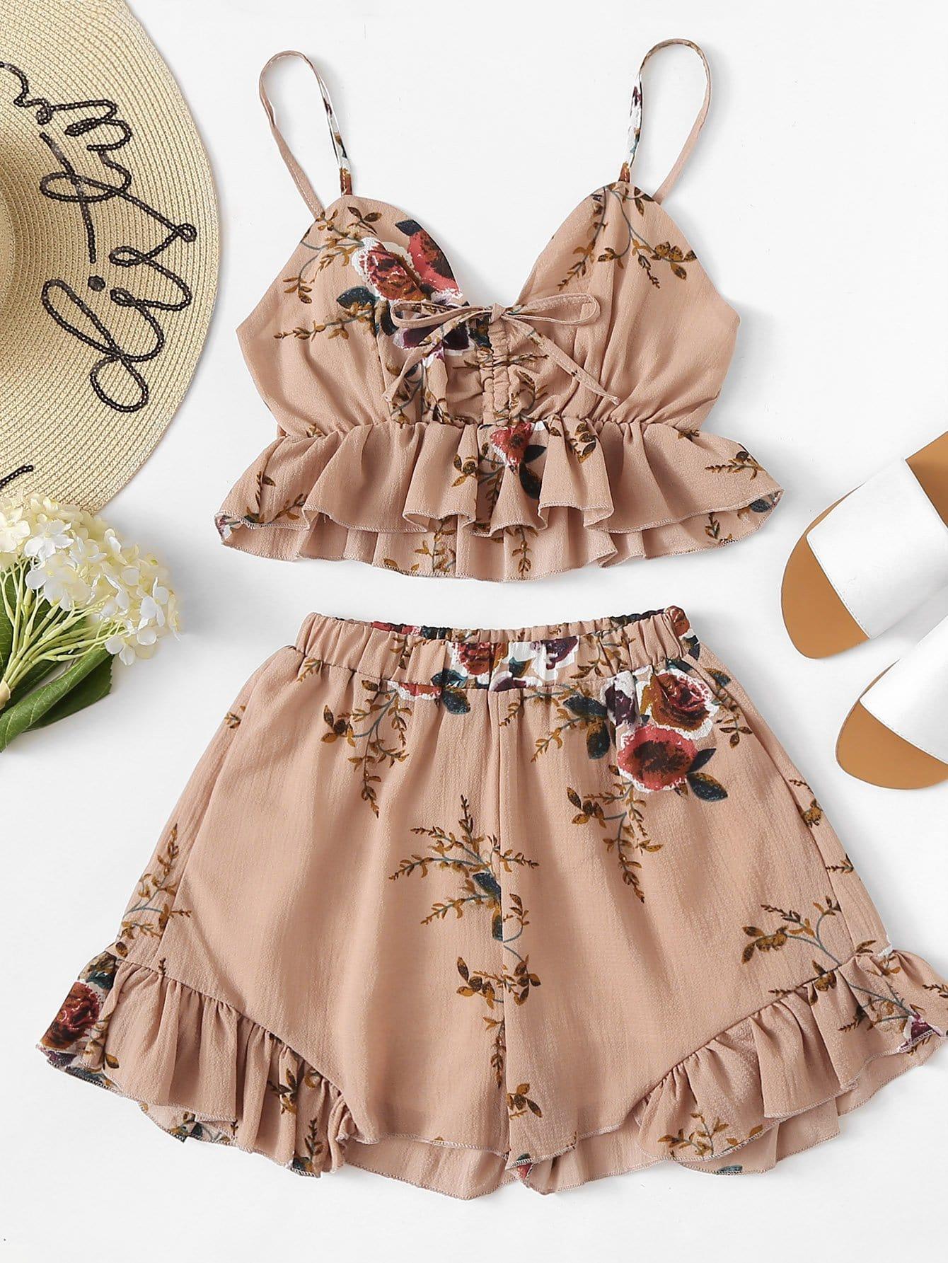 Ruffle Hem Floral Print Cami With Shorts hanky hem floral print cami tank top