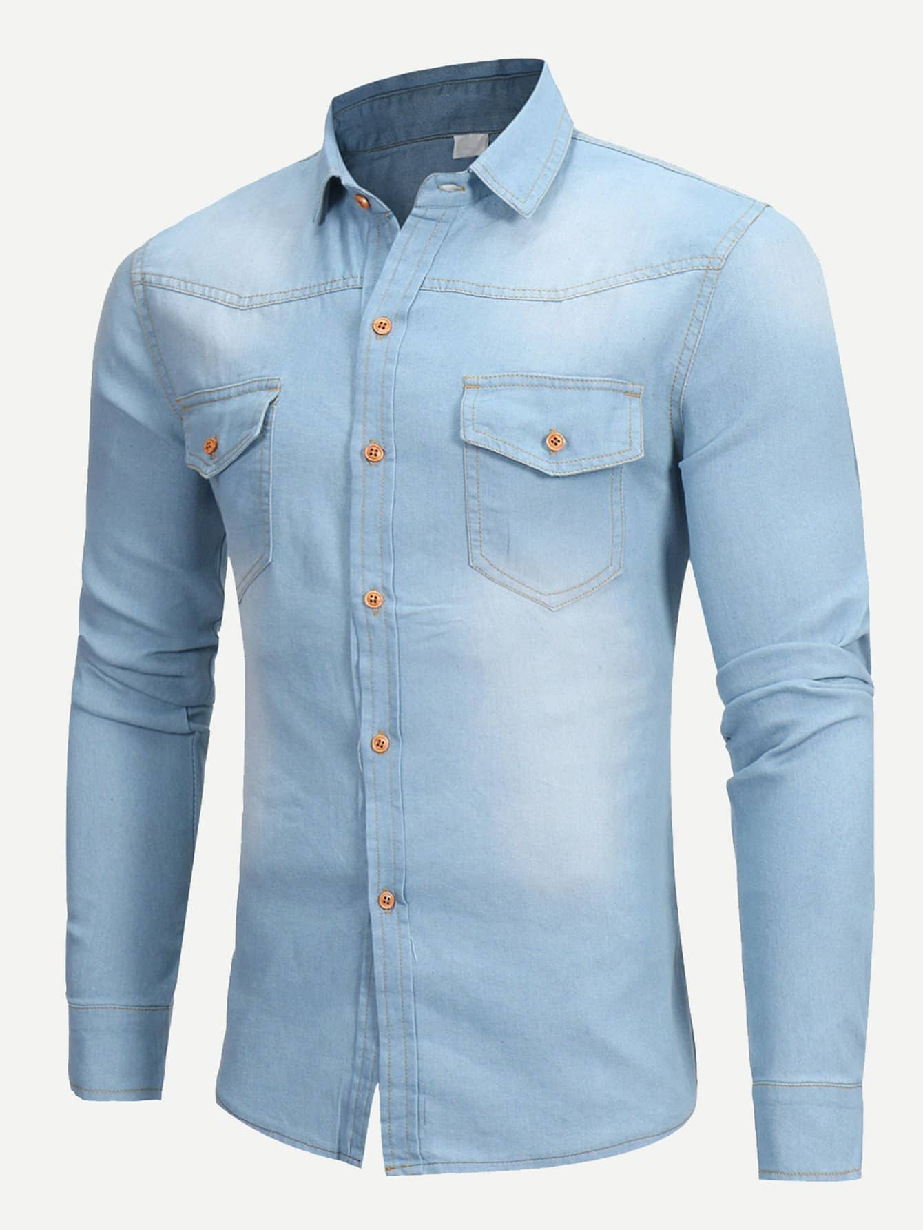 Men Wish Plain Denim Blouse kids plain denim blouse