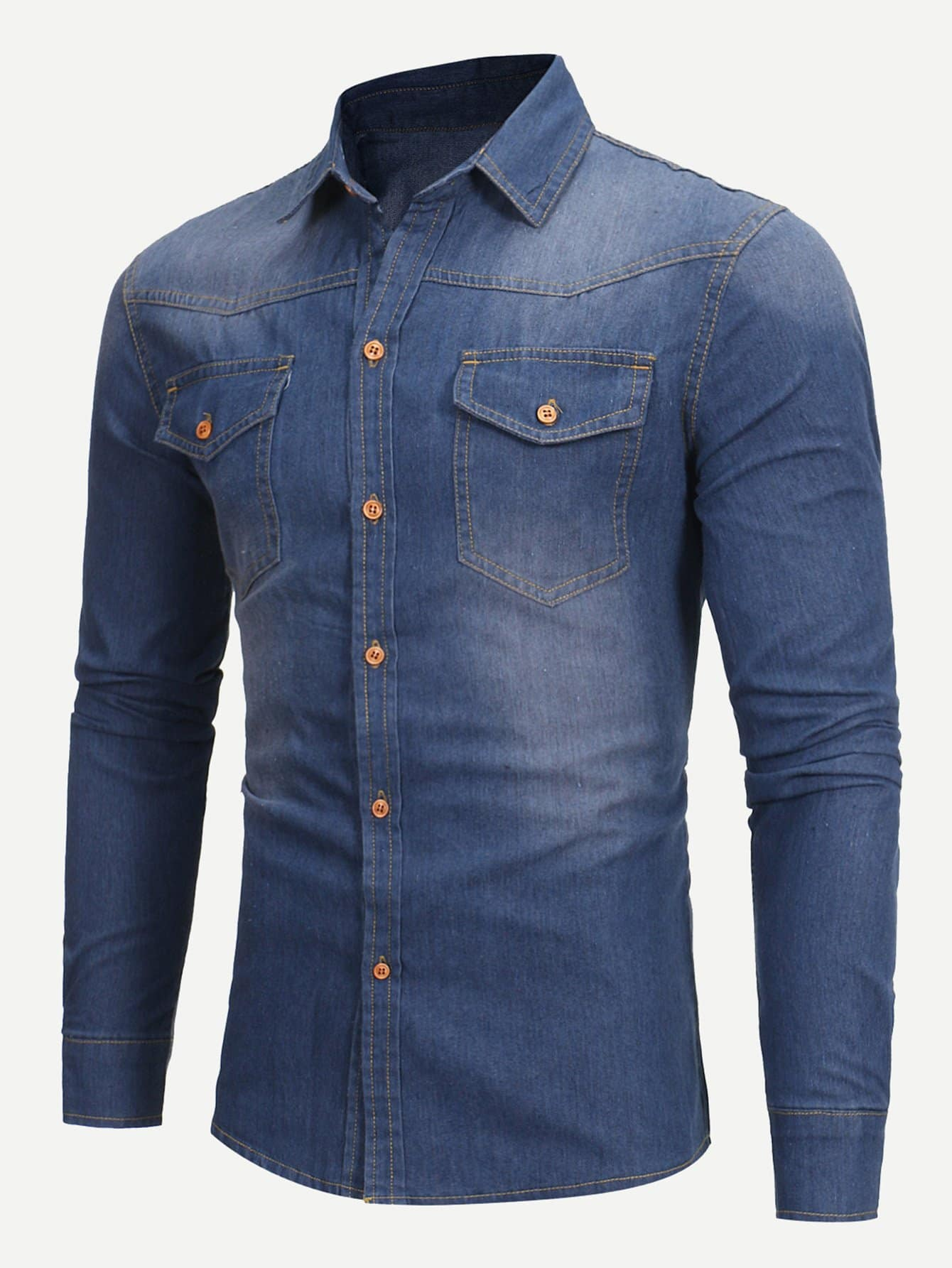 Men Washed Plain Denim Shirt