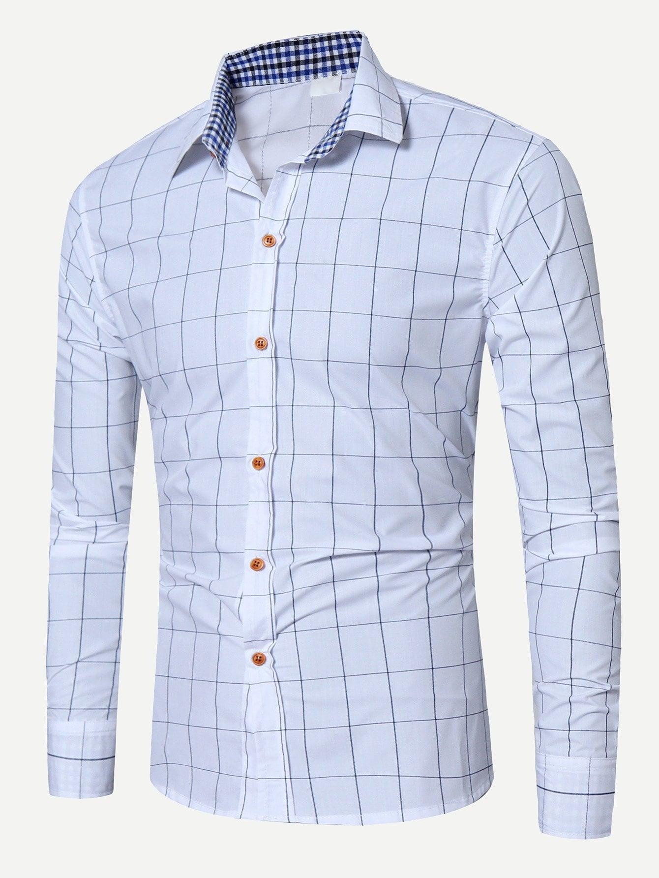 Men Grid Print Blouse men zebra print blouse