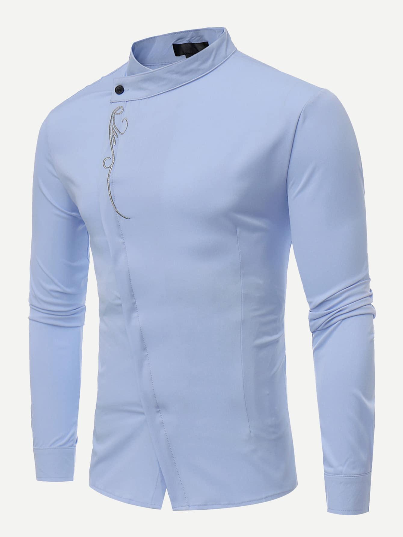 Men Embroidery Plain Blouse men double button plain blouse