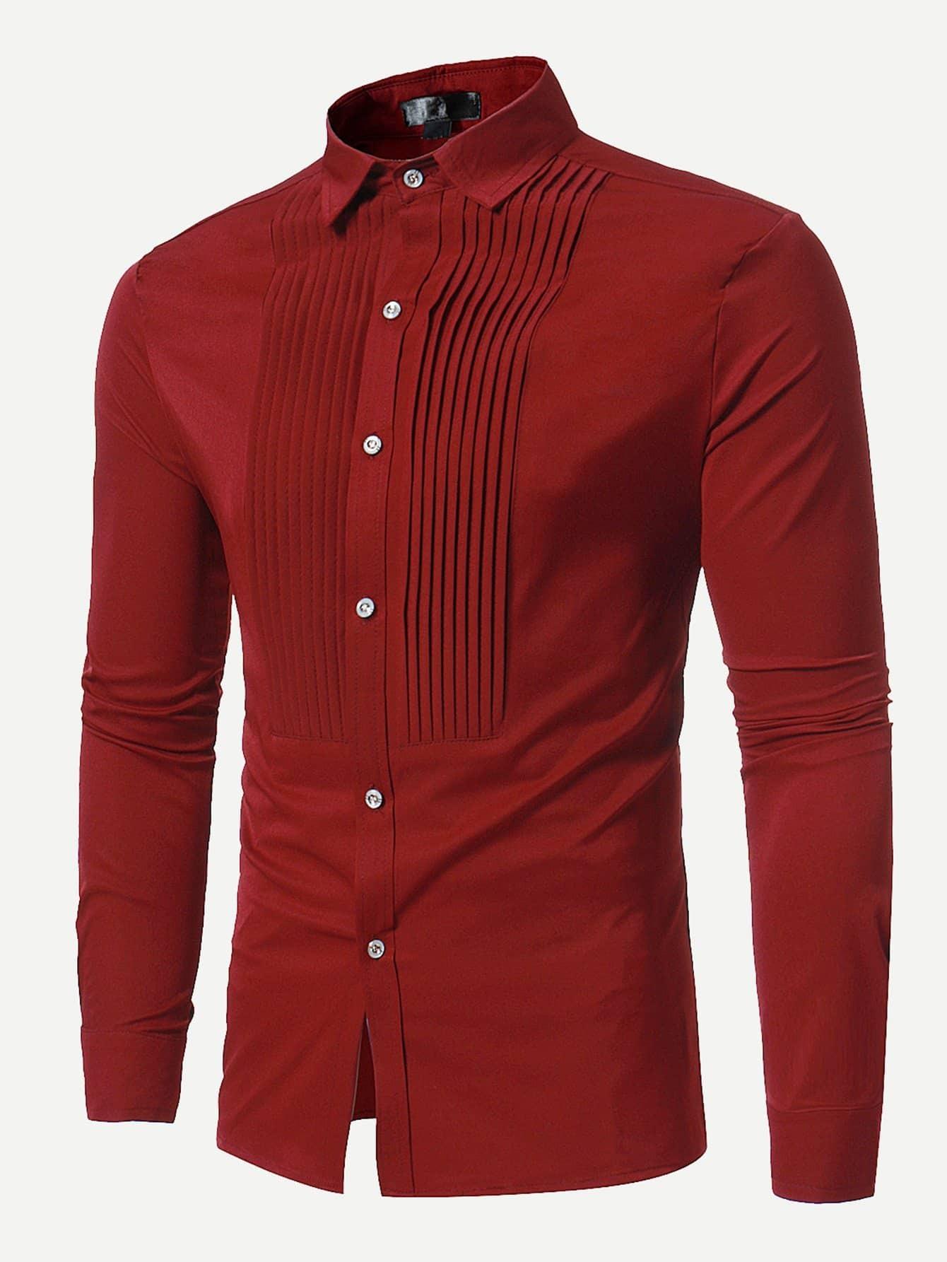 Men Pleated Front Plain Blouse men double button plain blouse