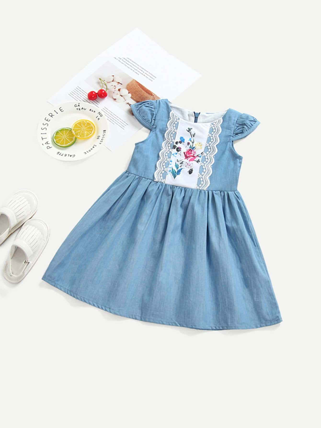 Kids Contrast Lace Denim Dress kids contrast lace patchwork denim short
