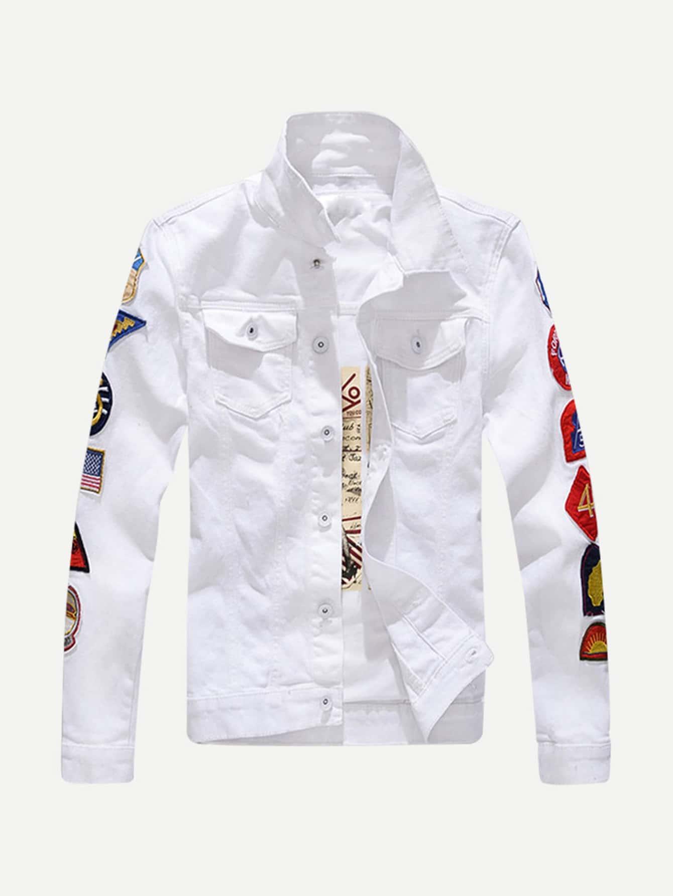 Men Patched Denim Jacket men embroidery patched denim jacket