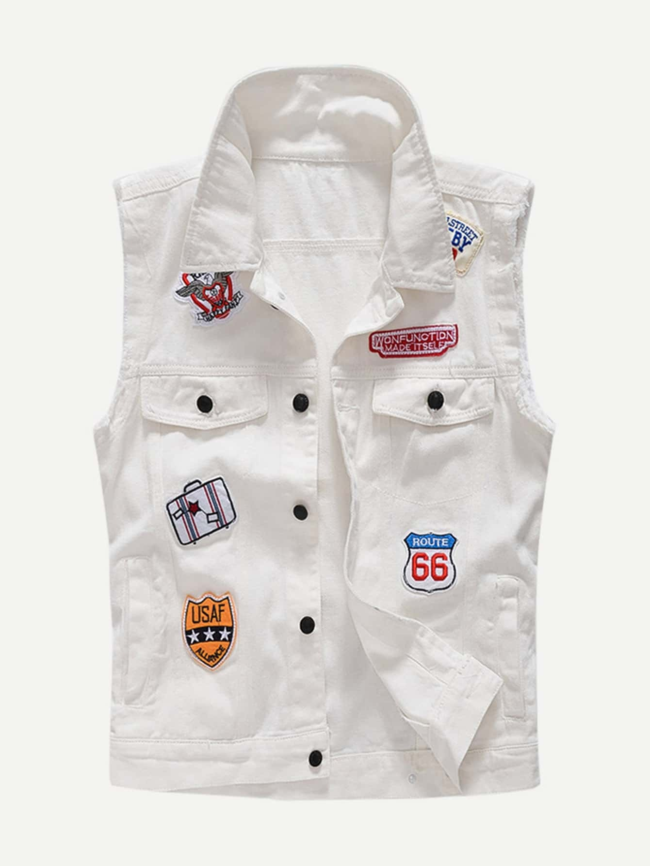 Men Patched Denim Vest men embroidery patched denim jacket
