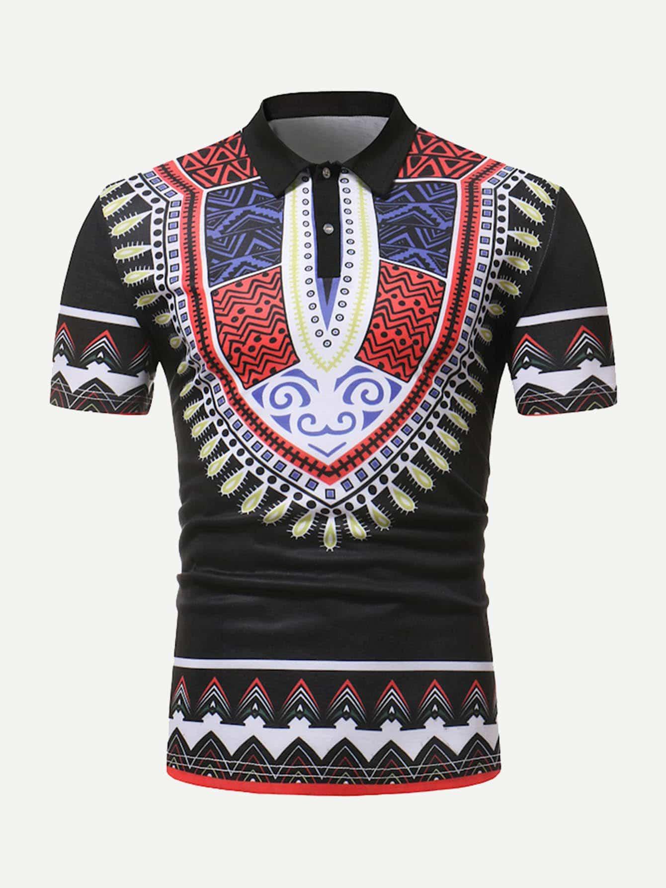 Купить Мужская рубашка с полосками для печати, null, SheIn