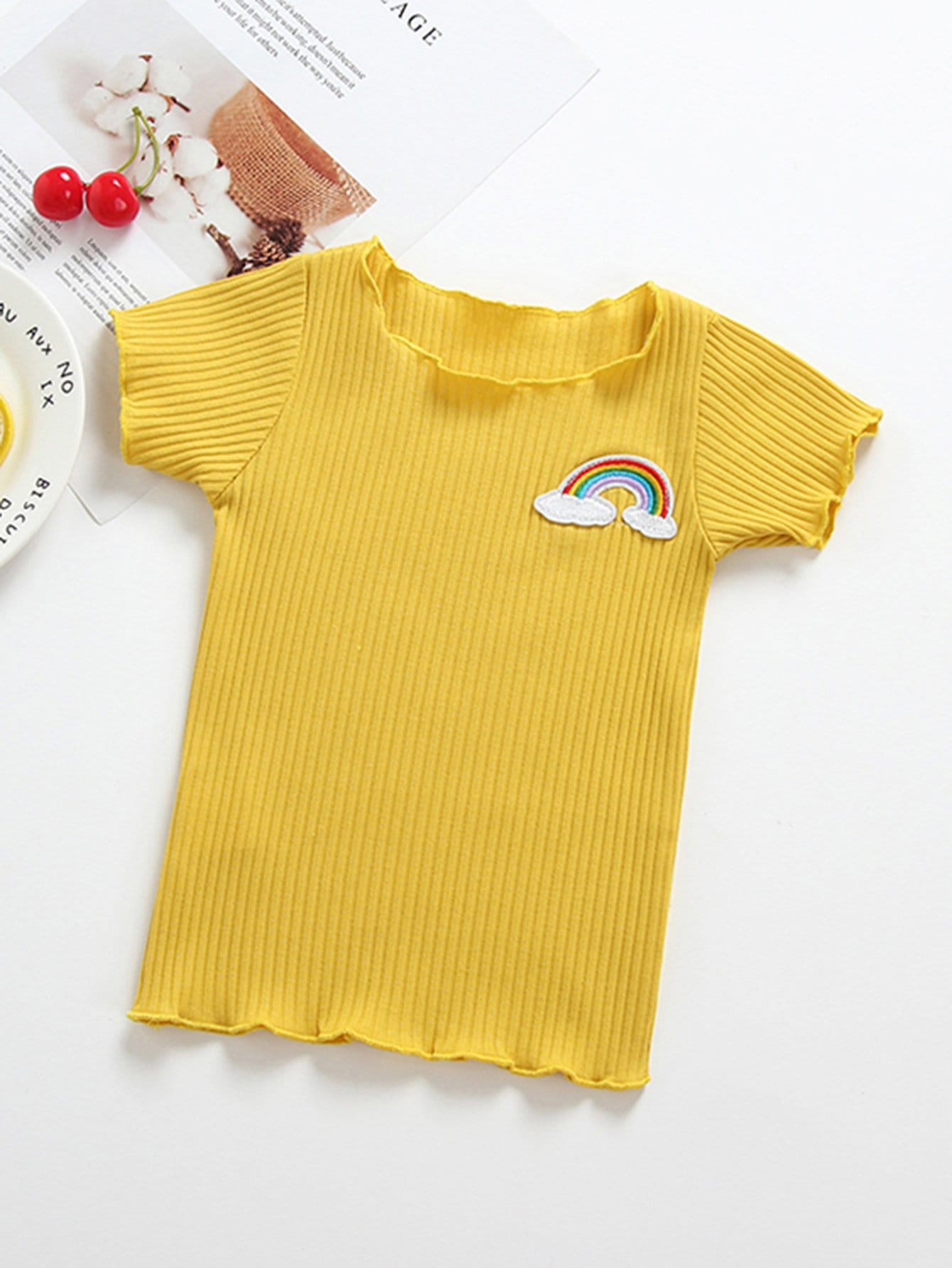Kids Patched Frill Ribbed Tee ruched neck frill sleeve ribbed tee
