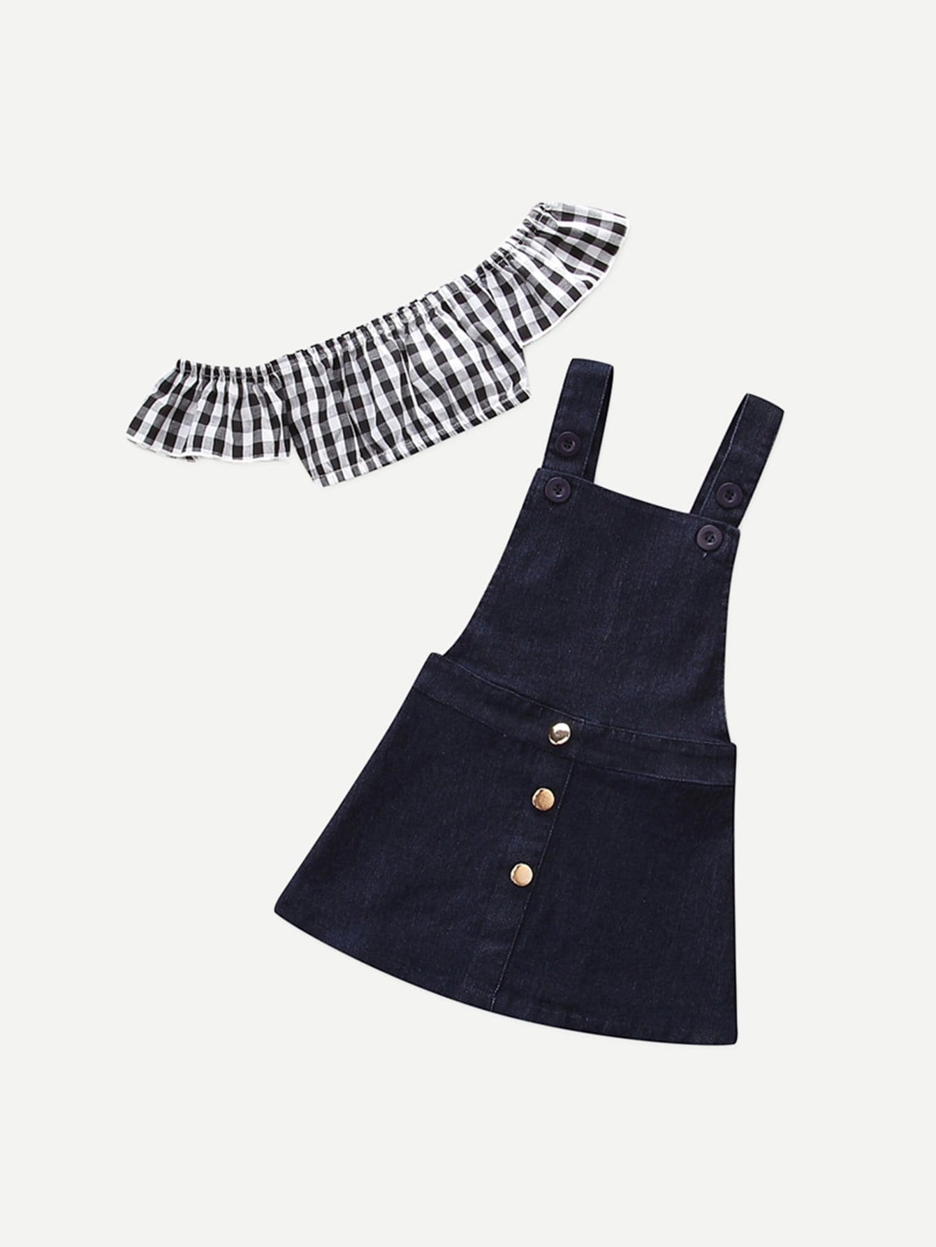 Kids Gingham Crop Top With Denim Overall Skirt overall yumi overall