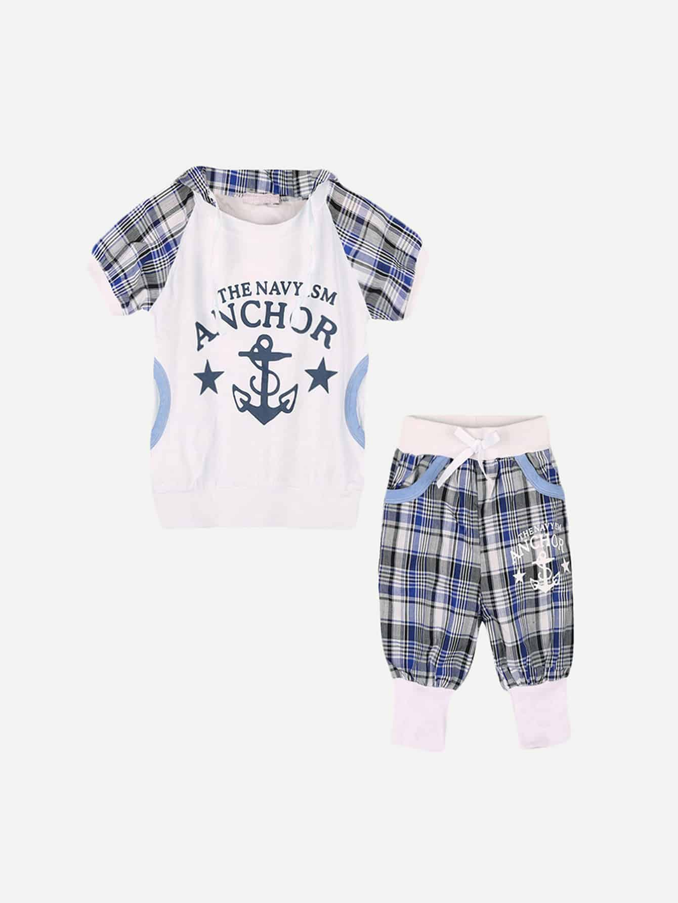 Kids Letter And Plaid Hooded Tee With Drawstring Shorts letter print hooded tee with shorts