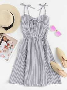 Tie Shoulder Eyelet Lace-Up Striped Dress